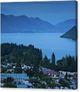 Elevated View Of Town At Dawn Canvas Print