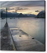 Elgol Pier And Boats With Cuillin Canvas Print