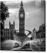 Elizabeth Tower Black And White Canvas Print