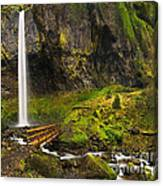 Elowah Falls Panorama -  Columbia River Gorge In Oregon Canvas Print