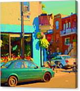 Elses Pub Cafe Plateau Montreal Corner Roy And De Bullion City Scene Art Of Montreal Carole Spandau Canvas Print