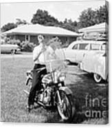 Elvis Presley With His 1956 Harley Kh Canvas Print