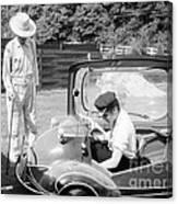 Elvis Presley With His Messerschmitt Micro Car 1956 Canvas Print