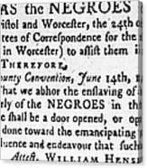 Emancipation Notice, 1775 Canvas Print