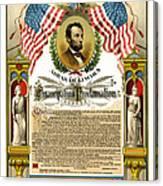 Emancipation Proclamation Tribute 1888 Canvas Print