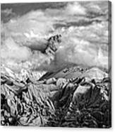 Embraced By Clouds Black And White Canvas Print