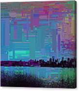 Emerald City Skyline Cubed Canvas Print