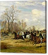 Emperor Franz Joseph I Of Austria Hunting To Hounds With The Countess Larisch In Silesia Canvas Print