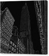 Empire Nyc White On Black Canvas Print