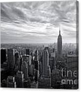 Empire State Building And Midtown Manhattan Black And White Canvas Print