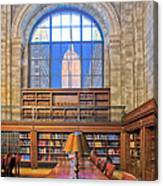 Empire State Building At The New York Public Library Canvas Print