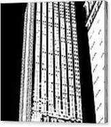 Empire State Building In Constrasting White Canvas Print