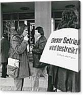 Employees Of Printing - Offices On Strike Throughout Canvas Print
