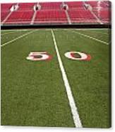 Empty American Football Stadium 50 Yard Line Canvas Print