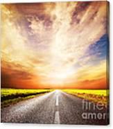 Empty Asphalt Road. Sunset Sky Canvas Print