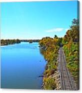Empty Train Tracks Of Rockford On The Rock River With Fall Colors Canvas Print