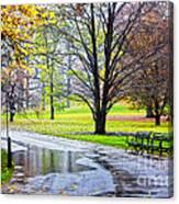 Empty Walkway On A Beautiful Rainy Autumn Day Canvas Print