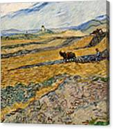 Enclosed Field With Plowman  Canvas Print