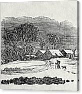 Endpiece, Late 18th Or Early 19th Century Wood Engraving 99;landscape; Winter; Figure; Snow; Snowy; Canvas Print