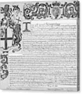 England Trade Charter Canvas Print