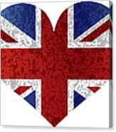 England Union Jack Flag Heart Textured Canvas Print