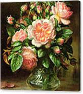 English Elegance Roses In A Glass Canvas Print