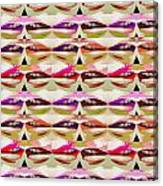 Enjoy Bliss Of Artistic Sensual Aura Lips  Kiss Romance Pattern Digital Graphic Signature   Art  Nav Canvas Print