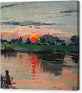 Enjoying The Sunset By Elmer's Pond Canvas Print