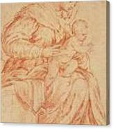 Enthroned Madonna And Child Canvas Print