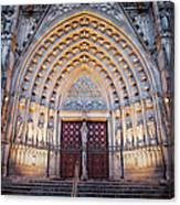 Entrance To The Barcelona Cathedral At Night Canvas Print