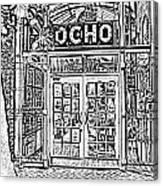 Entrance To Trendy Ocho Restaurant In San Antonio Texas Black And White Digital Art Canvas Print
