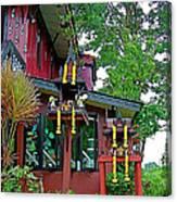 Entry Of A Thai Teak Home In Bangkok-thailand Canvas Print