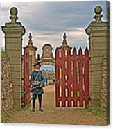 Entry To Fortress In Louisbourg Living History Museum-1744-ns Canvas Print