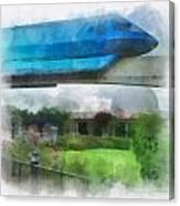 Epcot Globe And Blue Monorail Walt Disney World Photo Art 01 Canvas Print