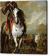 Equestrian Portrait Of Prince Eugene De Savoie 1663-1736 C.1700-10 Oil On Panel Canvas Print