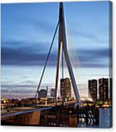 Erasmus Bridge And City Skyline Of Rotterdam At Dusk Canvas Print