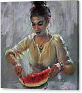 Erbora With Watermelon Canvas Print