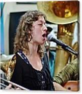 Erika Lewis With Tuba Skinny Canvas Print