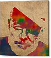 Ernest Hemingway Watercolor Portrait On Worn Distressed Canvas Canvas Print
