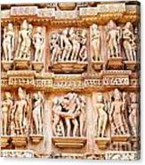 Erotic Human Sculptures Khajuraho India Canvas Print