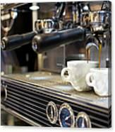 Espresso Machine Pouring Coffee Into Canvas Print