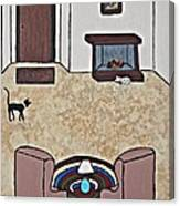 Essence Of Home - Black And White Cat In Living Room Canvas Print