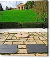 Eternal Flame At Kennedy Resting Place Canvas Print