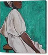 Ethiopian Woman In Green Canvas Print