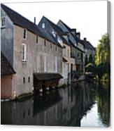 Eure River And Old Fulling Mills In Chartres Canvas Print