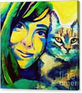 Evangelina And The Cat Canvas Print