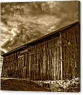Evening Barn Sepia Canvas Print