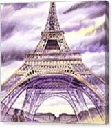 Evening In Paris A Walk To The Eiffel Tower Canvas Print