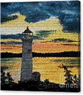 Evening Lighthouse In Stained Glass Canvas Print