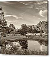 Evening Pond Sepia Canvas Print